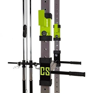 Capital Sports Tremendour Plus Power Rack Latzug Homegym Kraftstation (Stahl-Kantrohr, 210cm hoch Multigripp-Klimmzugstange, 20 Höhen-Positionen für Safety Spotter und J-Cups) silber-grün -