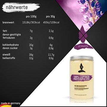 Lupinen Proteinpulver • 100% reines Lupinenprotein • 500g • ohne Zusätze • vegan • optimal für Paleo, Atkins, Keto und Low Carb Ernährung • in Deutschland hergestellt • primalife -