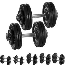 MOVIT® Gusseisen Kurzhantel 2er Set, Varianten 20kg, 30kg, 40kg, 50kg, 60kg, gerändelt mit Sternverschlüssen -