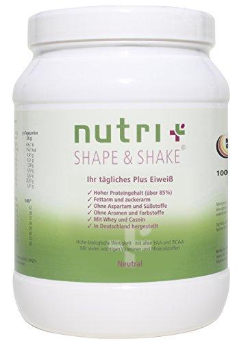 Nutri-Plus Shape & Shake Neutral 1kg - Proteinpulver ohne Aspartam, Aromen und Süßstoffe - Mit Whey & Casein -