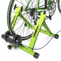 Relaxdays Rollentrainer Inklusive Schaltung 6 Gänge für 26-28 zoll bis 120 kg Belastbar Indoor Fahrradfahren Stahl, Grün, 10018322_53 -