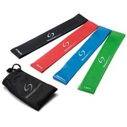 Set aus 4 Fitnessbändern - Gymnastikbänder / Loops für Yoga, Pilates, Reha-Sport Physio-Gymnastik - Für Männer & Frauen - Hergestellt aus natürlichem Latex - Lebenslange Garantie -