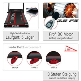 Sportstech F15 Laufband mit Smartphone App Steuerung, Bluetooth, 3 PS, 12 KM/H, 17 Programme und Tablethalterung - kompakt klappbar verstaubar -
