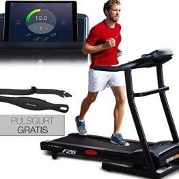 Sportstech F26 Profi Laufband mit Smartphone App Steuerung Pulsgurt im Wert von 39,90 € inklusive - MP3 AUX Bluetooth 4 PS 16 km/h HRC Training - kompakt klappbar verstaubar -