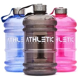 Water Jug - Sport Trinkflasche - Waterjug - Wasserflasche - Gym Bottle - Trainingsflasche - Water Bottle - Fitness Bottle - Wasser Kanister 2.2 Liter - Trinkflasche - ATHLETIC AESTHETICS - Schwarz -