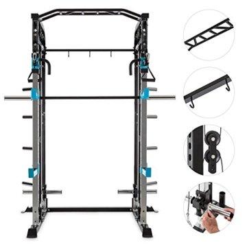 CAPITAL SPORTS Amazor M Power Gym Rack mit Kabelzug Multi-Kraftstation mit Langhantelstangenführung, Seilzug, Squat-Station, Doppel-Klimmzugstange, 8 Gewichtshalterungen (2xSafety Spotter, 2x J-Cups) -
