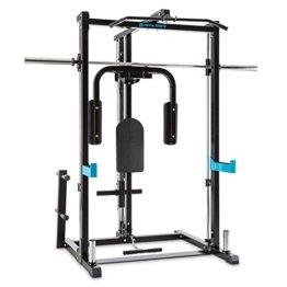 CAPITAL SPORTS Inclusor Halfrack Homegym Multifunktions-Kraftstation (Ruderzug, Rückenpolsterung, Safety-Spotter, Gewichtsablage) schwarz -