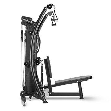 CAPITAL SPORTS Puissantor B15 Kabelzugstation Heimtrainer (High & Low Pull, Butterfly, Rowing Training, Steckstift-Schnellkupplung, 10 Gewichtsplatten) schwarz -