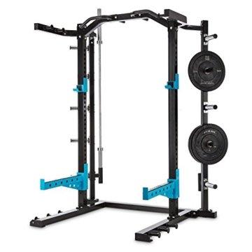 CAPITALS SPORTS Amazor H Power Rack Power-Cage Squat-Station Kraftstation (für Gewichthebeübungen mit Klimmzuggriffen und Gewichtsablagen, höhenverstellbare Safety Spotter, 2x J-Cups, Stahl) schwarz -