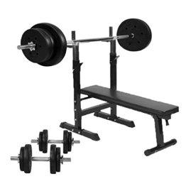 Gorilla Sports Hantelbank mit Hantelset und 70kg Kunststoff, 10000420 -