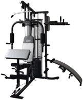Gregster Kraftstation/ Homegym mit 55kg Gewichtsplatten, Heimtrainer inkl. Brustpresse, Dip-Station, Lat-Zug, Curlpult, Sit-up Bank und Liegestützgriffe -