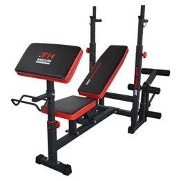 Hansson Sports TrainHard Kraftstation Fitnesscenter Hantelbank mit vielseitigen Trainingsmöglichkeiten, Schwarz/Rot, -