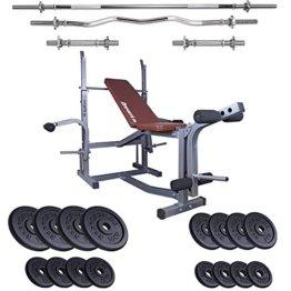 ScSPORTS Hantelbank mit verschiedenen Hantelsets Trainingsbank Curlhantel Langhantel Kurzhantel Gewichte (75 kg Gussscheiben) -