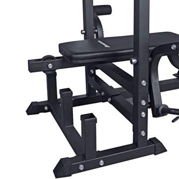 ScSPORTS Profi-Trainingsbank Kraftstation Hantelset mit 100kg Hantelscheiben Kunststoff Langhantel Curlstange -