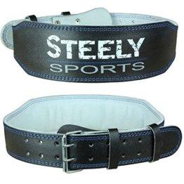 Steely-Sports Herren Gewichthebergürtel Leder / Trainingsgürtel Farbe: schwarz Größe: L ( Bodybuilding Gürtel, Gurt Gewichtheben, Fitnessgürtel, Kniebeugen ) -