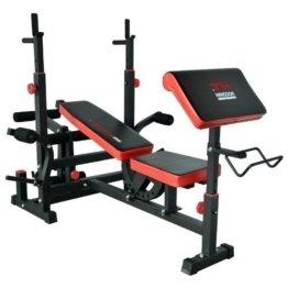 TrainHard Kraftstation Fitnesscenter Hantelbank mit vielseitigen Trainingsmöglichkeiten schwarz/rot -